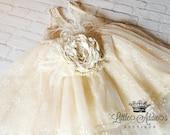 Vintage Flowers Dress, Ivory, Crochet Flower Dress