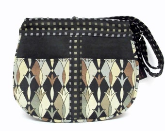 Cross Body Purse, Shoulder Bag, Black & Tan