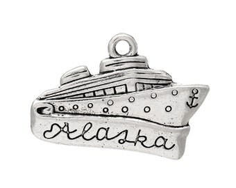 "5 Antique Silver Stamped ""Alaska"" CRUISE SHIP Charm Pendants  chs1417"