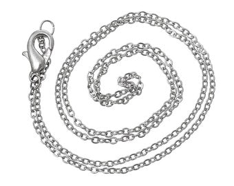 20 Silver Tone Cable Link Chain Necklaces with Lobster Clasp, 43cm long  fch0111