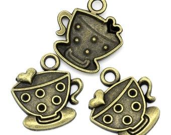 "6 Bronze TEA CUP and SAUCER Charm Pendants, 1""  chb0312"