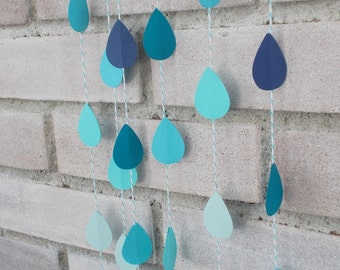 Mixed Blue Raindrop Paper Garland - Baby Shower - Baby Sprinkle -  Rain Garland - Blue Bakers Twine - April Showers - Sip and See (24 Ft)