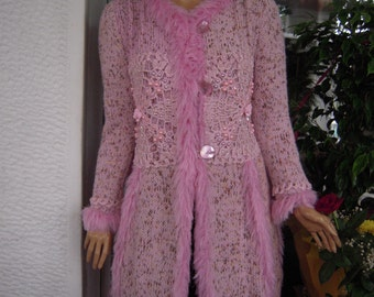 SALE coat in shades of pink wedding embroidered with swarovski crystals ready to ship women clothing for winter by goldeyarn