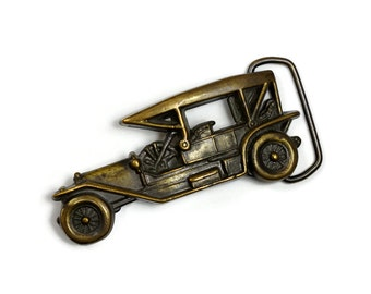 Vintage Brass Belt Buckle, Antique Car, Vintage Automobile, Old Fashioned Car