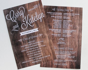Dark or White Wood Wedding Program