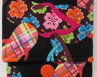 Fabric Cover for Kindle and Other E-Readers (Multi-colored Flip Flops on Black Background)