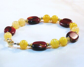 Moukaite Bracelet, Jade Bracelet, Beaded Bracelet, Gemstone Bracelet, Yellow Bracelet, Gifts for Her, Healing Bracelet,Brown Bracelet