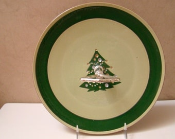 STANGL Jeweled Christmas Tree TIDBIT Or SANDWICH Tray