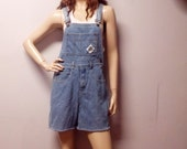 Vintage 90's Grunge  Denim Shortalls/Overalls Shorts - Sz Medium
