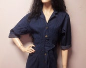 Vintage 80's Dark Blue Denim Dress Buttons down the front Sz Small