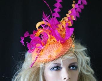 Ascot Orange and cerise BESPOKE fascinator UNIQUE hat Wedding Races