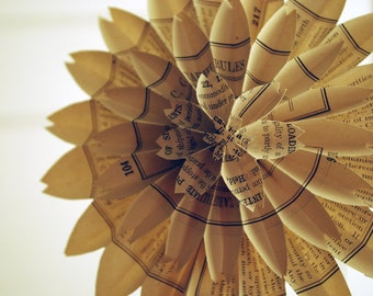 Book Blossom, Paper Dahlia, Train - Freight Traffic Book Pages, Paper Wedding, Paper  Anniversary