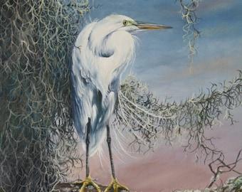 Snowy Egret oil painting-20x24 original