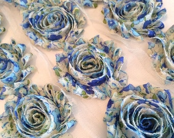 "Blue Flower Print Shabby Rose Trim 2.5"" Shabby Flowers Shabby Chiffon Flowers - Printed Shabby Chic Trim Wholesale Rosette trim 6cm 1 yard"