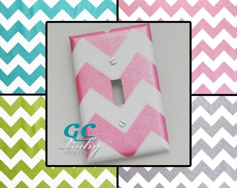 Pearl Shimmer Chevron Light Switch and Outlet Covers in Pink, Blue, Green or Grey - Girls Room Decor, Baby Nursery, Rocker - Any Type