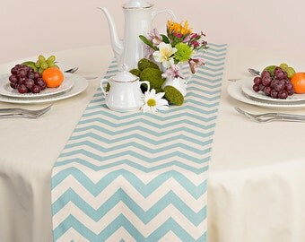 Village Blue Table Runner - Village Blue Wedding Linens - Village Blue Table Topper - Chevron Village Blue Table Runner
