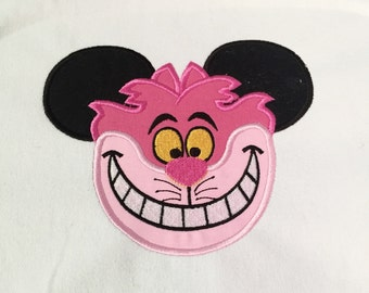 Cheshire Cat Mouse head personalized applique childrens shirt