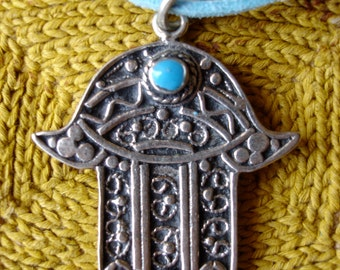 Turquoise Moroccan  Hand charm necklace pendant with faux suede tie (E)