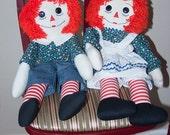 Raggedy Ann & Andy - handmade fabric dolls