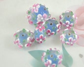 5beads 6Beads 10Beads Hole 3mm Charm Rondelle Pink Flower Blue Clear  Lampwork gemstone beads 8mmx15mm Glass Gemstone Beads
