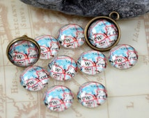 Circle Map New  York Handmade photo glass cabochon dome 10mm 12mm 14mm 16mm 18mm 20mm 25mm 30mm For Earring Brooch Ring Necklace Bracelet