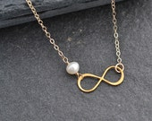 Infinity Charm Necklace, Bridesmaid Gift, Pearl Necklace,Everyday Necklace, Gold Necklace,