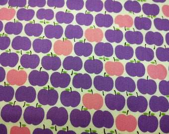 Purple and pink apples, ivory, 1/2 yard, pure cotton fabric