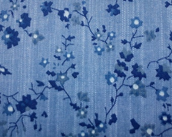 Tiny blue flowers, on white and blue, fat quarter, pure cotton fabric