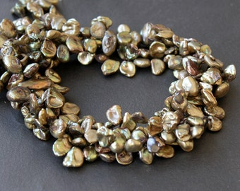 Keshi Petal Pearls Green Gold Top Drilled 10x8mm FULL STRAND (15 Inches)