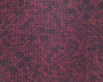 SALE  DEEP RED  Vintage Japanese Kimono silk fabric lightly embossed  floral  Black  14.5 x 67 inches
