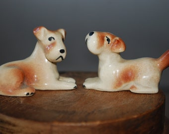 Vintage Pair of Miniature Dog Figurines - Terriers - 1960's - Gloss finish - Canine - Mid Century