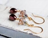 Earth tone Earrings, Gold Earrings, Pearl Earrings, Autumn Wedding, Gift for Her, SALE, Dangle Earrings, Teardrop Earrings