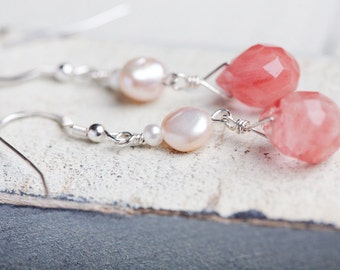 Cherry Quartz Earrings, Pink, Quartz Earrings, Quartz Pearl, White Pink Earrings, Quartz Drop Earrings, Pink Quartz Earrings, Pink Quartz