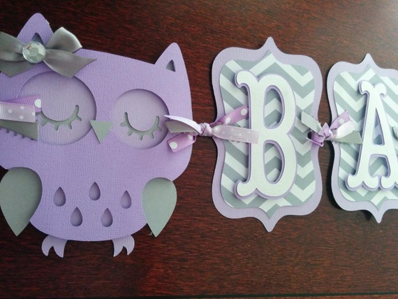 Owl baby shower banner it 39 s a girl banner baby banner for Baby shower owl decoration ideas