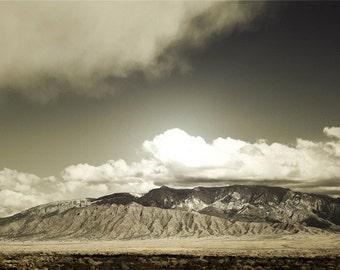 Sandia Mountains Photography Print 11x14 Fine Art New Mexico Southwest Desert Winter Landscape Photography Print.