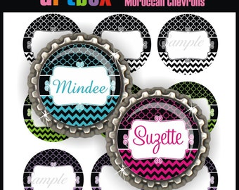 Editable Moroccan Chevrons Bottle Cap Images - 4x6 Digital Jpeg File Collage Sheet - BottleCap One Inch Circles for Badge Reels, Hair Bows