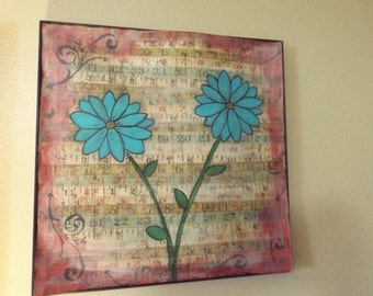 Blue Times Two 12 x 12 Original Framed Mixed Media Painting