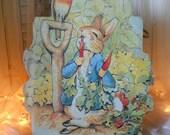 Vintage Peter Rabbit Bag With Cotton Braided Cord Handle Beatrix Potter's Peter Rabbit Bag Minty Green Handle Paper Ephemera Supplies