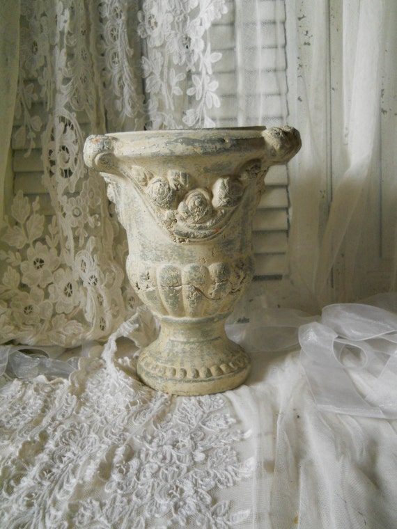Vintage Concrete Urn With Roses Swags Vintage Garden Planter