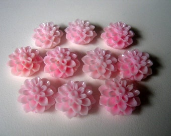 10 Pink  Chrysanthemum Flower Resin Cabochons 16mm x 8mm