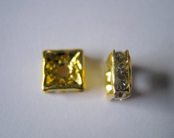 10 Rhinestone Square Spacer Beads 6x6mm