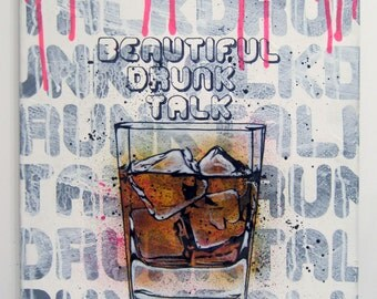 Whisky on the rock. Original Hand painting on canvas.16x20 with artist sign