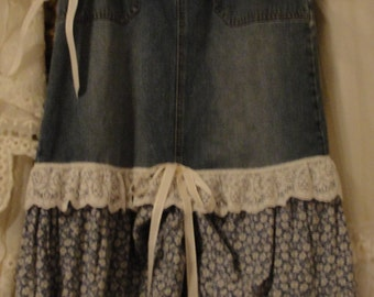 Jean skirt, boho gypsy chic, country chic