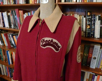 KILLER 1940s GLOBE Wool Carclub Jacket with Amazing Detailing and Rare Patches--M
