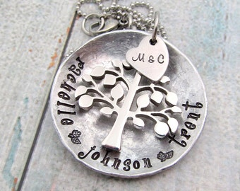 Personalized Necklace - Hand Stamped Jewelry - Mother's Necklace - Personalized Tree Necklace - Personalized Mom Necklace Family Tree (500)