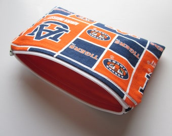 Zippered Pouch, Auburn Squares, Blue and Orange, Orange Lining, Ready to Ship