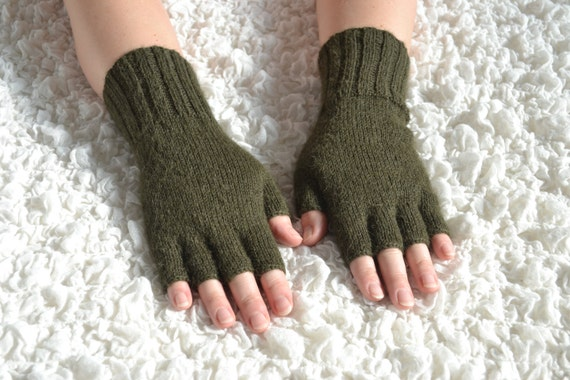 Free Knitting Patterns Gloves Half Fingers : Hand-knitted half finger gloves alpaca gloves handmade by HandyDuo