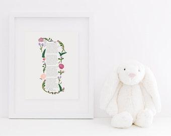 "If for Girls - Rudyard Kipling-inpsired poem by J.P. McEnvoy - 8x10"" print of poem with floral illustration"
