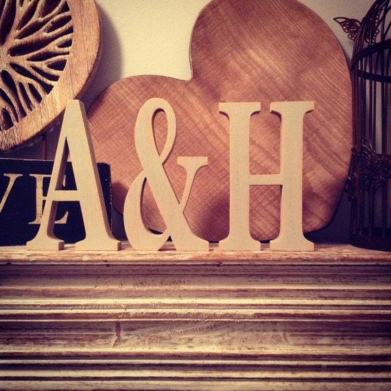 Free standing wooden wedding letters set of 3 hand painted for Standing wood letters to paint
