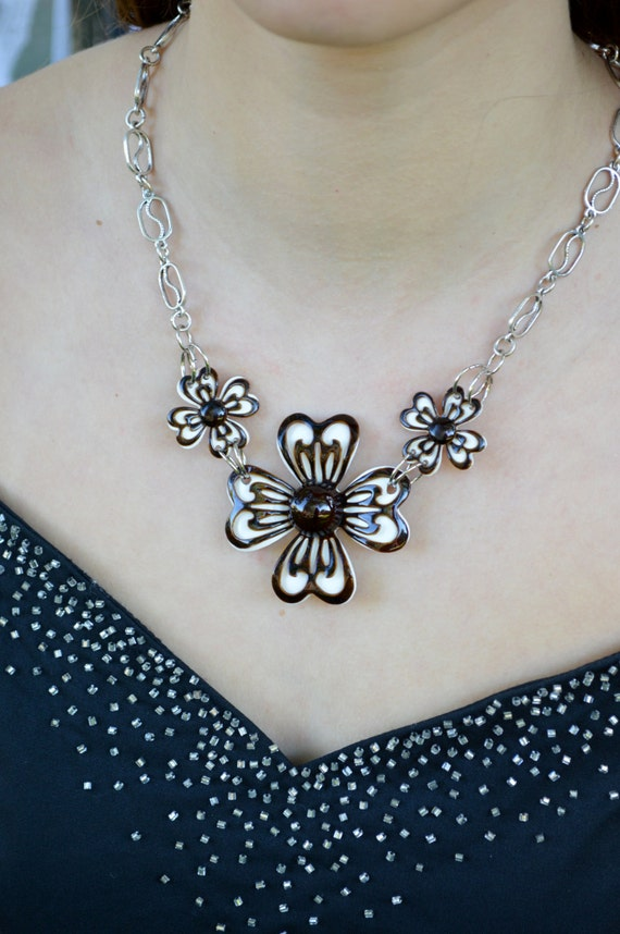Retro Vintage Brooch and Earring Necklace